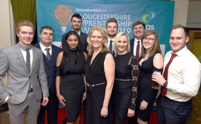 Somerford attending the gloucestershire apprentice awards team photo